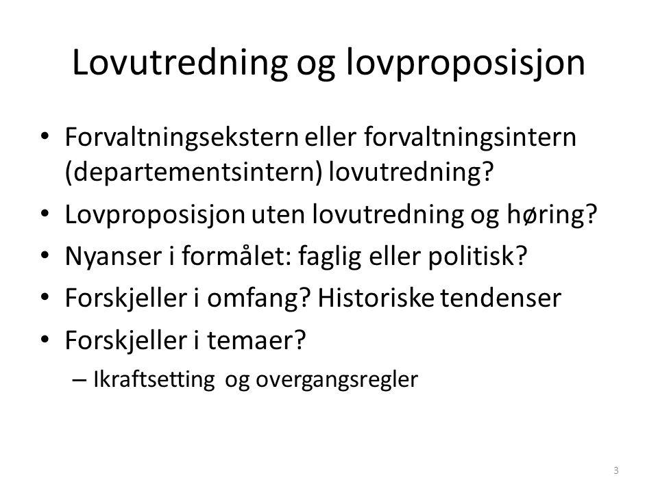 Lovutredning og lovproposisjon Forvaltningsekstern eller forvaltningsintern (departementsintern) lovutredning.