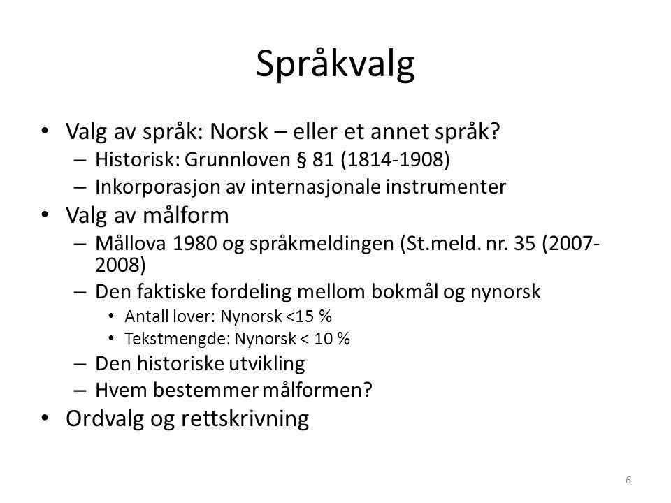 Språkvalg Valg av språk: Norsk – eller et annet språk.