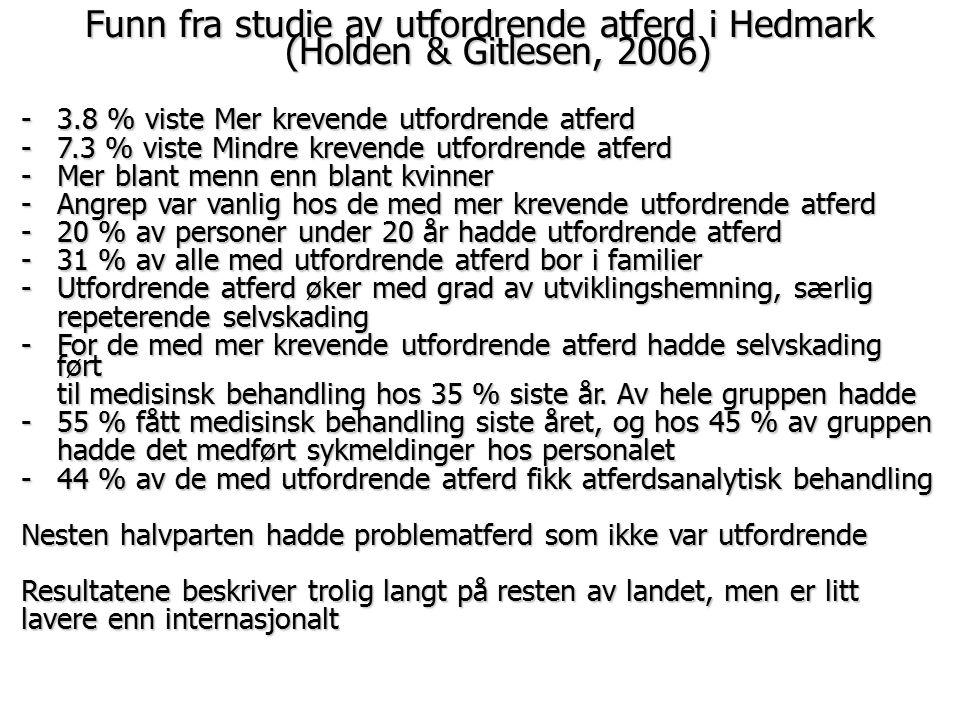 Funn fra studie av utfordrende atferd i Hedmark (Holden & Gitlesen, 2006) -3.8 % viste Mer krevende utfordrende atferd -7.3 % viste Mindre krevende ut