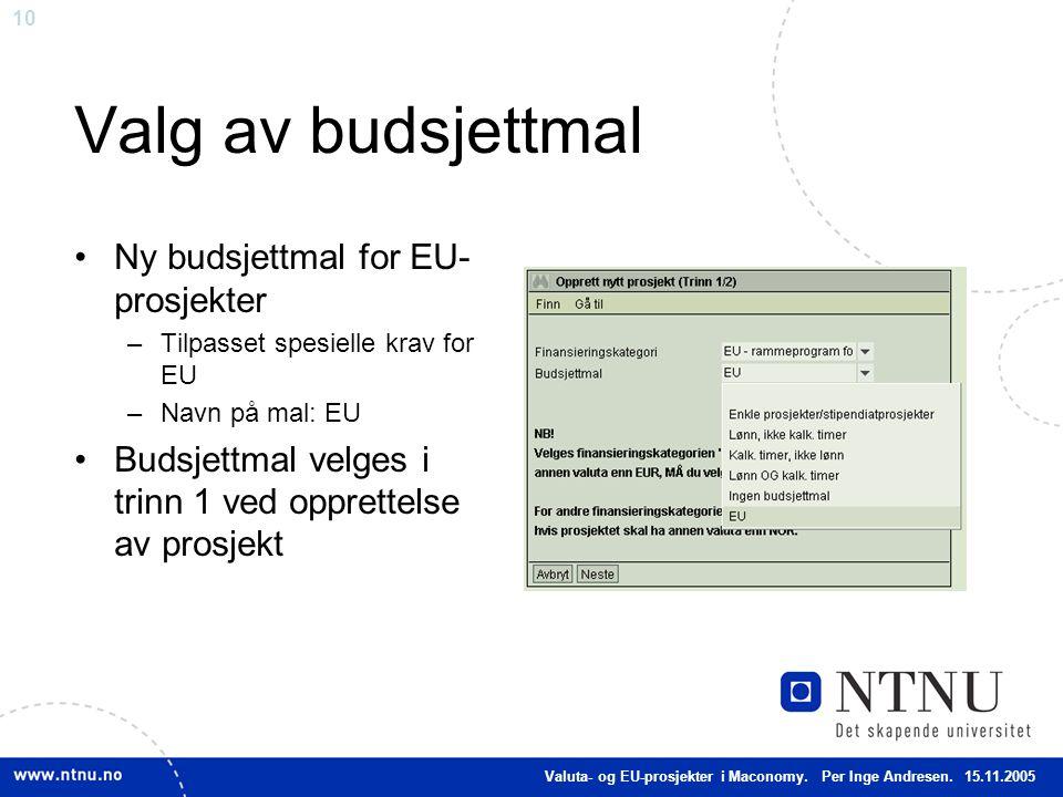 10 Valg av budsjettmal Ny budsjettmal for EU- prosjekter –Tilpasset spesielle krav for EU –Navn på mal: EU Budsjettmal velges i trinn 1 ved opprettels