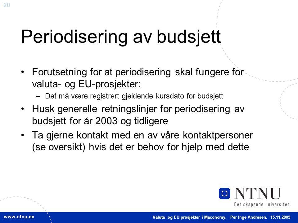 20 Periodisering av budsjett Forutsetning for at periodisering skal fungere for valuta- og EU-prosjekter: –Det må være registrert gjeldende kursdato f