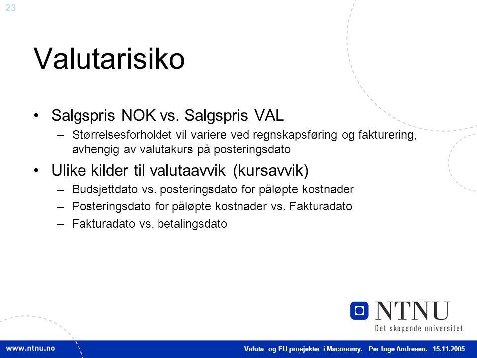 23 Valutarisiko Salgspris NOK vs. Salgspris VAL –Størrelsesforholdet vil variere ved regnskapsføring og fakturering, avhengig av valutakurs på posteri