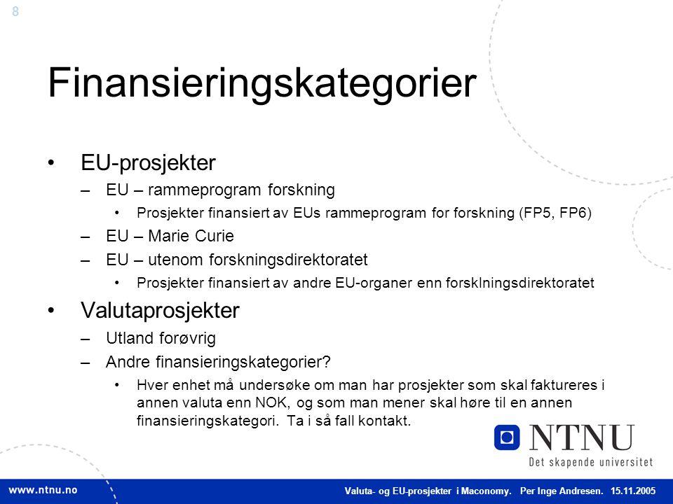 8 Finansieringskategorier EU-prosjekter –EU – rammeprogram forskning Prosjekter finansiert av EUs rammeprogram for forskning (FP5, FP6) –EU – Marie Cu