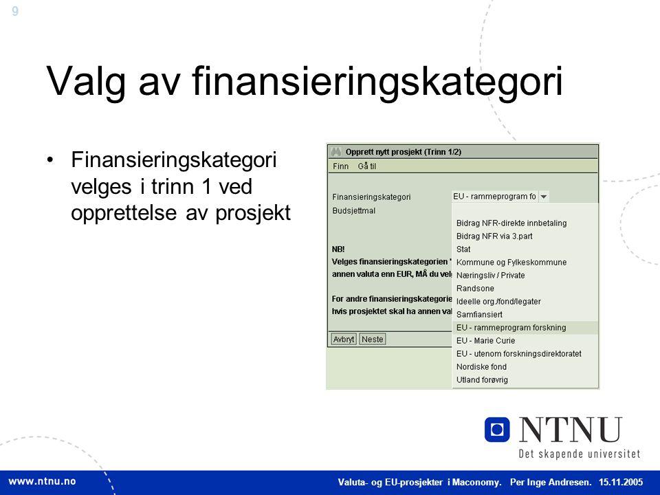 9 Valg av finansieringskategori Finansieringskategori velges i trinn 1 ved opprettelse av prosjekt Valuta- og EU-prosjekter i Maconomy. Per Inge Andre