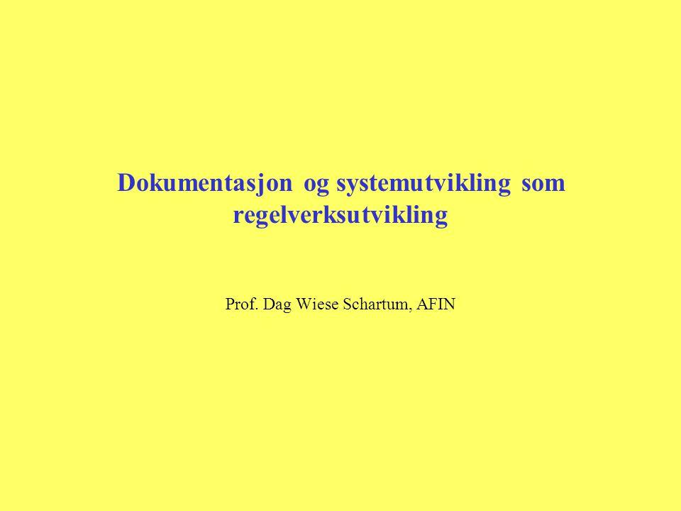 Dokumentasjon og systemutvikling som regelverksutvikling Prof. Dag Wiese Schartum, AFIN