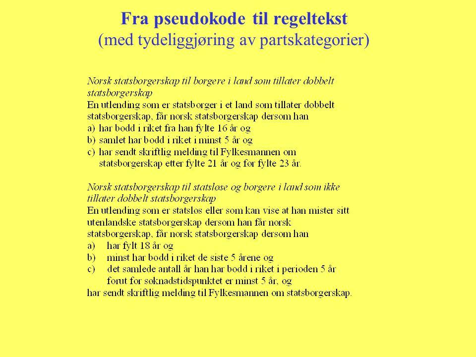 Fra pseudokode til regeltekst (med tydeliggjøring av partskategorier)
