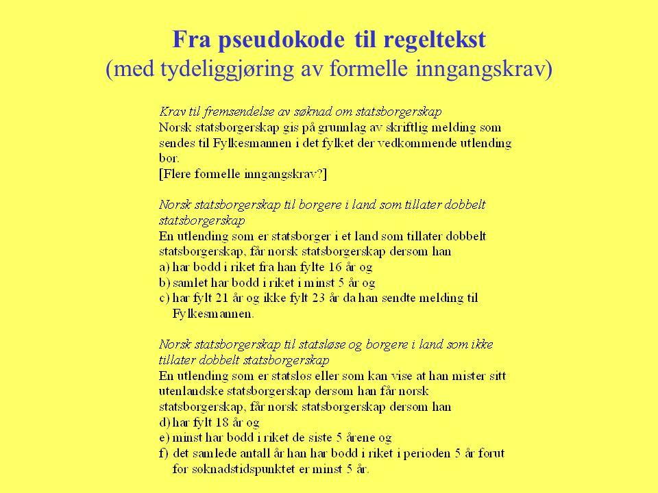 Fra pseudokode til regeltekst (med tydeliggjøring av formelle inngangskrav)