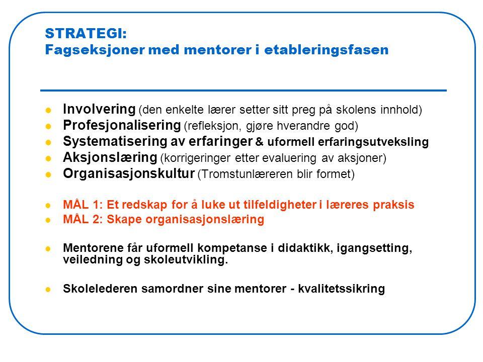 STRATEGI: Fagseksjoner med mentorer i etableringsfasen Involvering (den enkelte lærer setter sitt preg på skolens innhold) Profesjonalisering (refleksjon, gjøre hverandre god) Systematisering av erfaringer & uformell erfaringsutveksling Aksjonslæring (korrigeringer etter evaluering av aksjoner) Organisasjonskultur (Tromstunlæreren blir formet) MÅL 1: Et redskap for å luke ut tilfeldigheter i læreres praksis MÅL 2: Skape organisasjonslæring Mentorene får uformell kompetanse i didaktikk, igangsetting, veiledning og skoleutvikling.