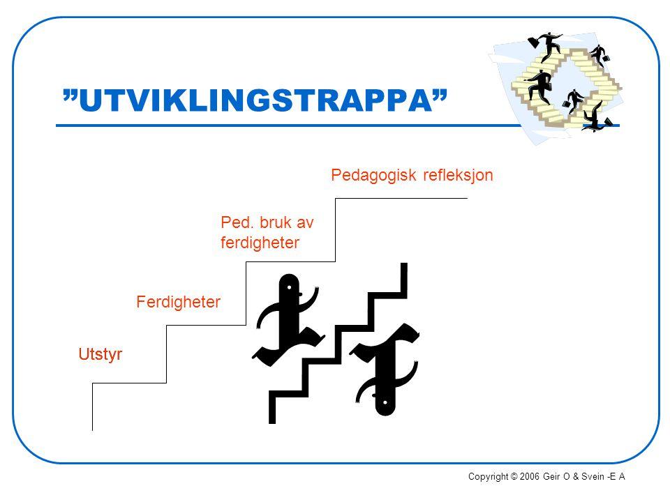"""""""UTVIKLINGSTRAPPA"""" Utstyr Ferdigheter Ped. bruk av ferdigheter Pedagogisk refleksjon Utstyr Copyright © 2006 Geir O & Svein -E A"""