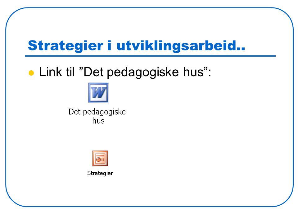 """Strategier i utviklingsarbeid.. Link til """"Det pedagogiske hus"""":"""