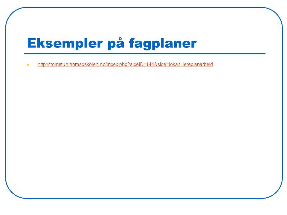 Eksempler på fagplaner http://tromstun.tromsoskolen.no/index.php?sideID=144&side=lokalt_lereplanarbeid