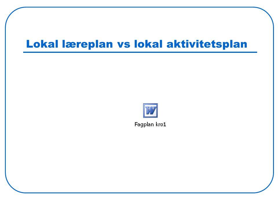 Lokal læreplan vs lokal aktivitetsplan
