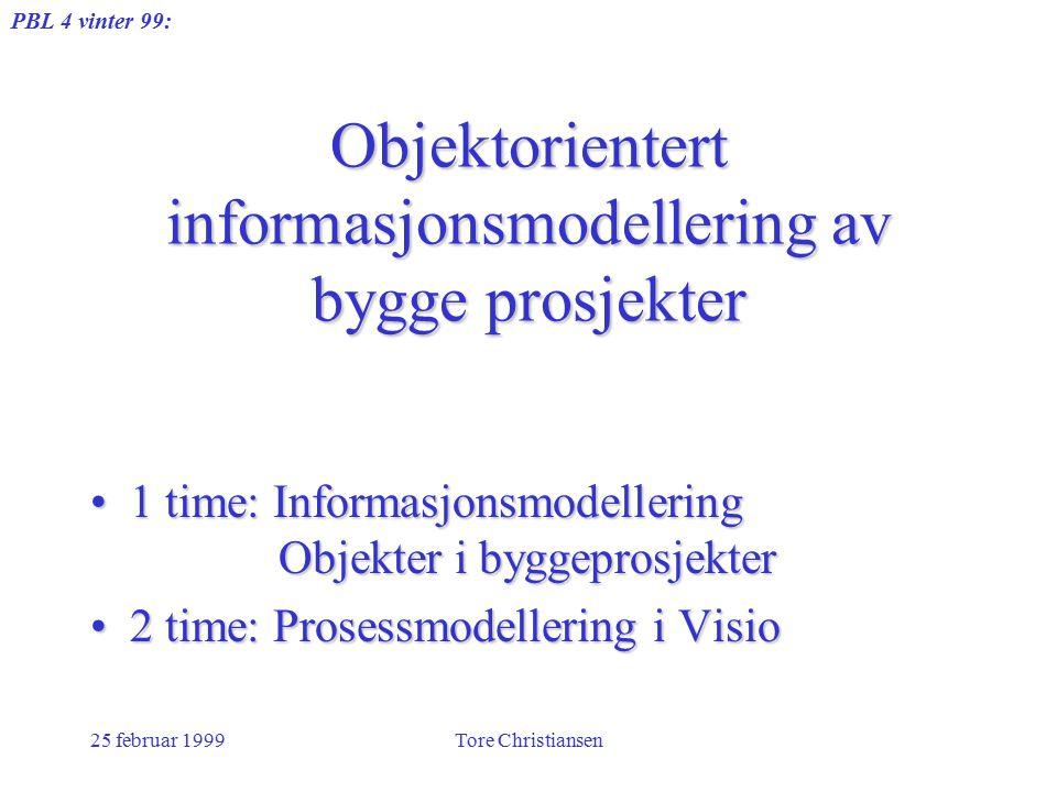 PBL 4 vinter 99: 25 februar 1999Tore Christiansen Objektorientert informasjonsmodellering av bygge prosjekter 1 time: Informasjonsmodellering Objekter i byggeprosjekter1 time: Informasjonsmodellering Objekter i byggeprosjekter 2 time: Prosessmodellering i Visio2 time: Prosessmodellering i Visio