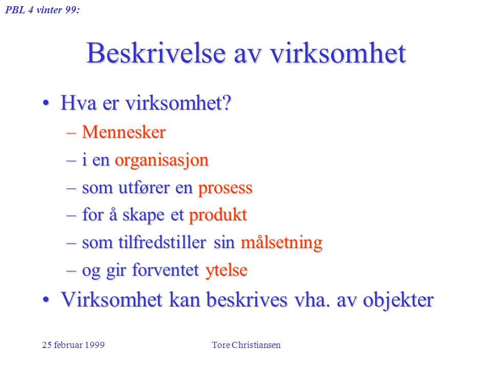 PBL 4 vinter 99: 25 februar 1999Tore Christiansen Beskrivelse av virksomhet Hva er virksomhet Hva er virksomhet.