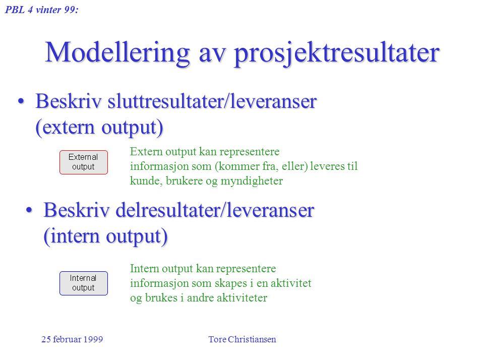 PBL 4 vinter 99: 25 februar 1999Tore Christiansen Modellering av prosjektresultater Beskriv delresultater/leveranser (intern output)Beskriv delresulta