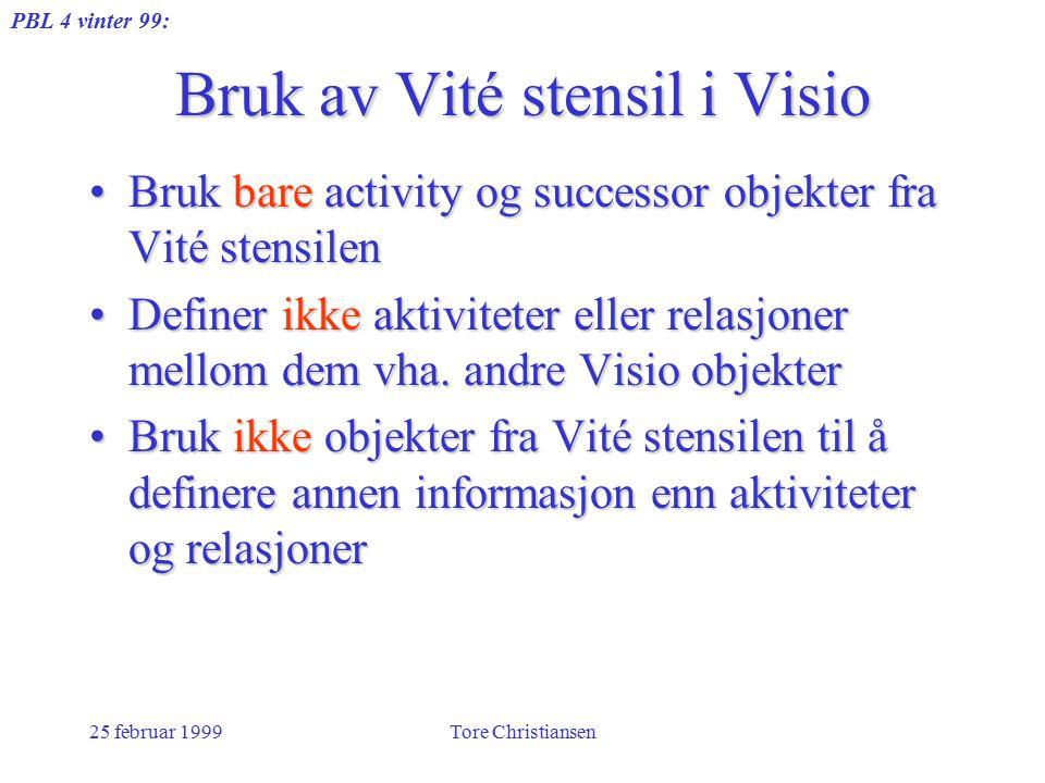 PBL 4 vinter 99: 25 februar 1999Tore Christiansen Bruk av Vité stensil i Visio Bruk bare activity og successor objekter fra Vité stensilenBruk bare activity og successor objekter fra Vité stensilen Definer ikke aktiviteter eller relasjoner mellom dem vha.