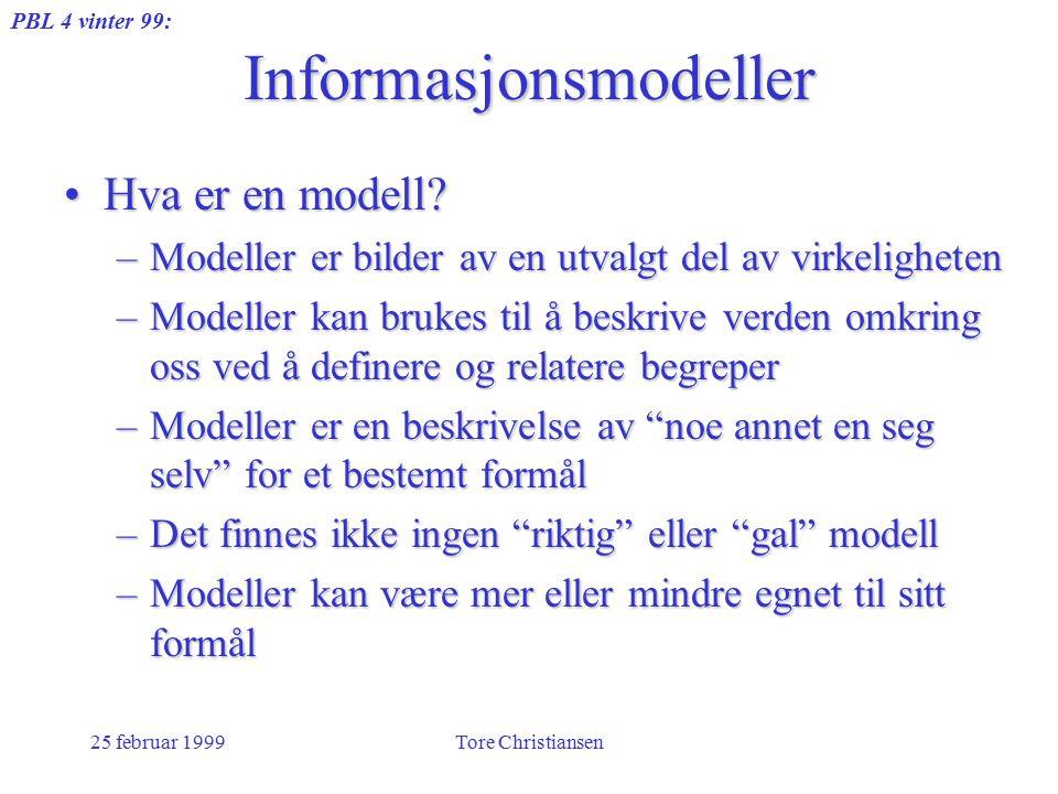 PBL 4 vinter 99: 25 februar 1999Tore Christiansen Informasjonsmodeller Hva er en modell?Hva er en modell? –Modeller er bilder av en utvalgt del av vir