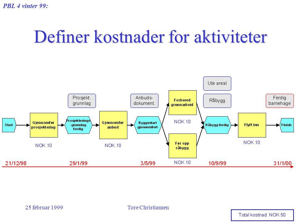 PBL 4 vinter 99: 25 februar 1999Tore Christiansen Definer kostnader for aktiviteter