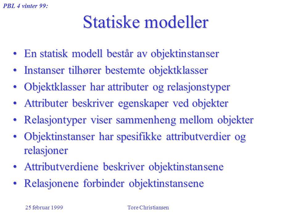 PBL 4 vinter 99: 25 februar 1999Tore Christiansen Statiske modeller En statisk modell består av objektinstanserEn statisk modell består av objektinstanser Instanser tilhører bestemte objektklasserInstanser tilhører bestemte objektklasser Objektklasser har attributer og relasjonstyperObjektklasser har attributer og relasjonstyper Attributer beskriver egenskaper ved objekterAttributer beskriver egenskaper ved objekter Relasjontyper viser sammenheng mellom objekterRelasjontyper viser sammenheng mellom objekter Objektinstanser har spesifikke attributverdier og relasjonerObjektinstanser har spesifikke attributverdier og relasjoner Attributverdiene beskriver objektinstanseneAttributverdiene beskriver objektinstansene Relasjonene forbinder objektinstanseneRelasjonene forbinder objektinstansene