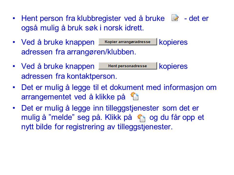 Hent person fra klubbregister ved å bruke - det er også mulig å bruk søk i norsk idrett.