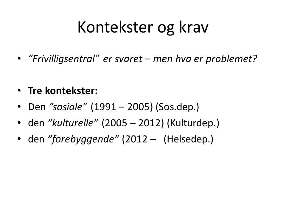 """Kontekster og krav """"Frivilligsentral"""" er svaret – men hva er problemet? Tre kontekster: Den """"sosiale"""" (1991 – 2005) (Sos.dep.) den """"kulturelle"""" (2005"""