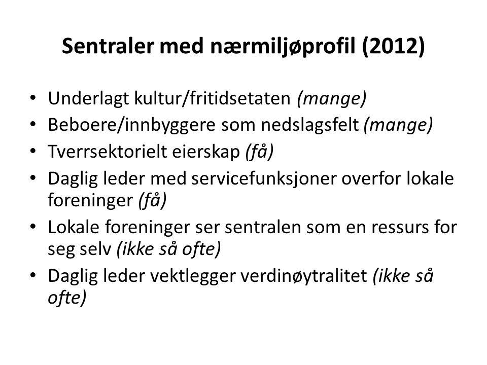 Sentraler med nærmiljøprofil (2012) Underlagt kultur/fritidsetaten (mange) Beboere/innbyggere som nedslagsfelt (mange) Tverrsektorielt eierskap (få) D