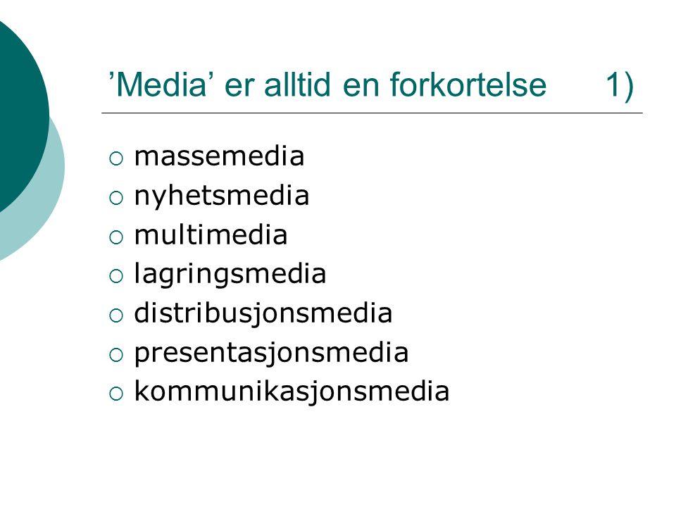 'Media' er alltid en forkortelse 1)  massemedia  nyhetsmedia  multimedia  lagringsmedia  distribusjonsmedia  presentasjonsmedia  kommunikasjons
