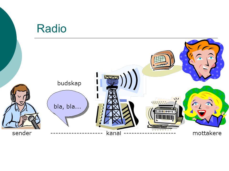 Radio sendermottakere-------------------- kanal -------------------- budskap bla, bla...
