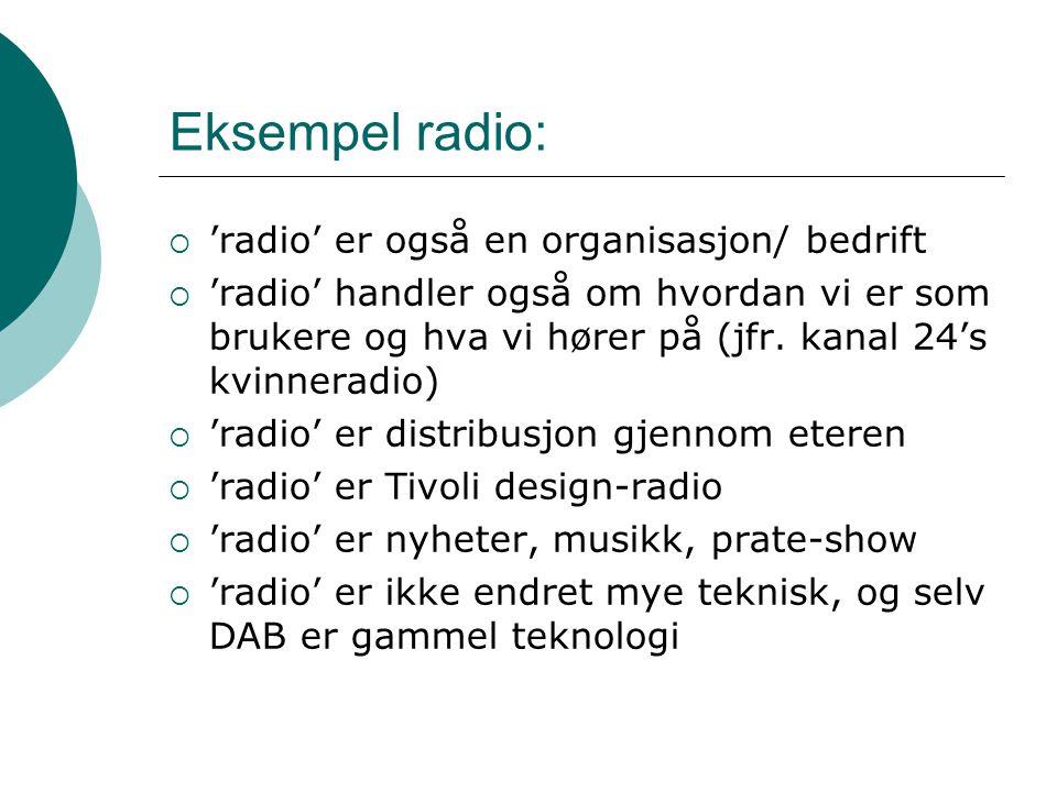 Eksempel radio:  'radio' er også en organisasjon/ bedrift  'radio' handler også om hvordan vi er som brukere og hva vi hører på (jfr. kanal 24's kvi