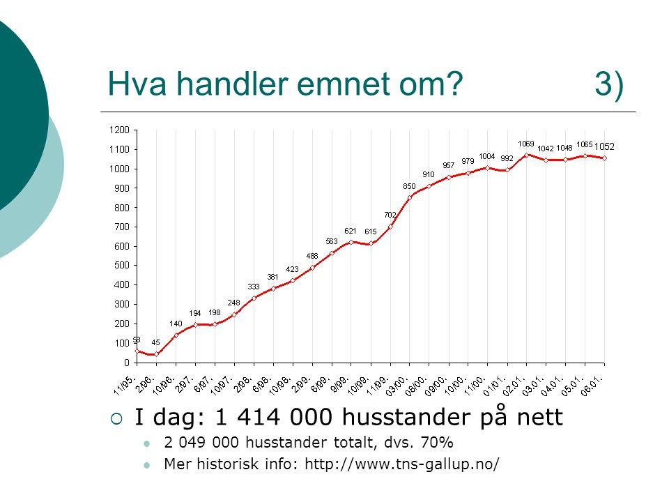 Hva handler emnet om? 3)  I dag: 1 414 000 husstander på nett 2 049 000 husstander totalt, dvs. 70% Mer historisk info: http://www.tns-gallup.no/