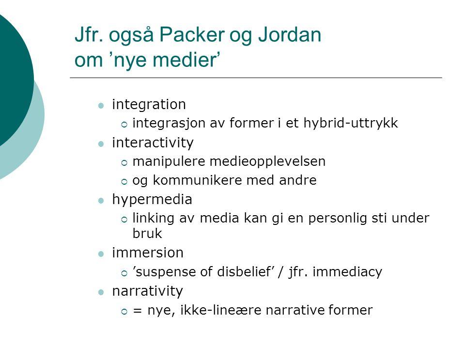 Jfr. også Packer og Jordan om 'nye medier' integration  integrasjon av former i et hybrid-uttrykk interactivity  manipulere medieopplevelsen  og ko