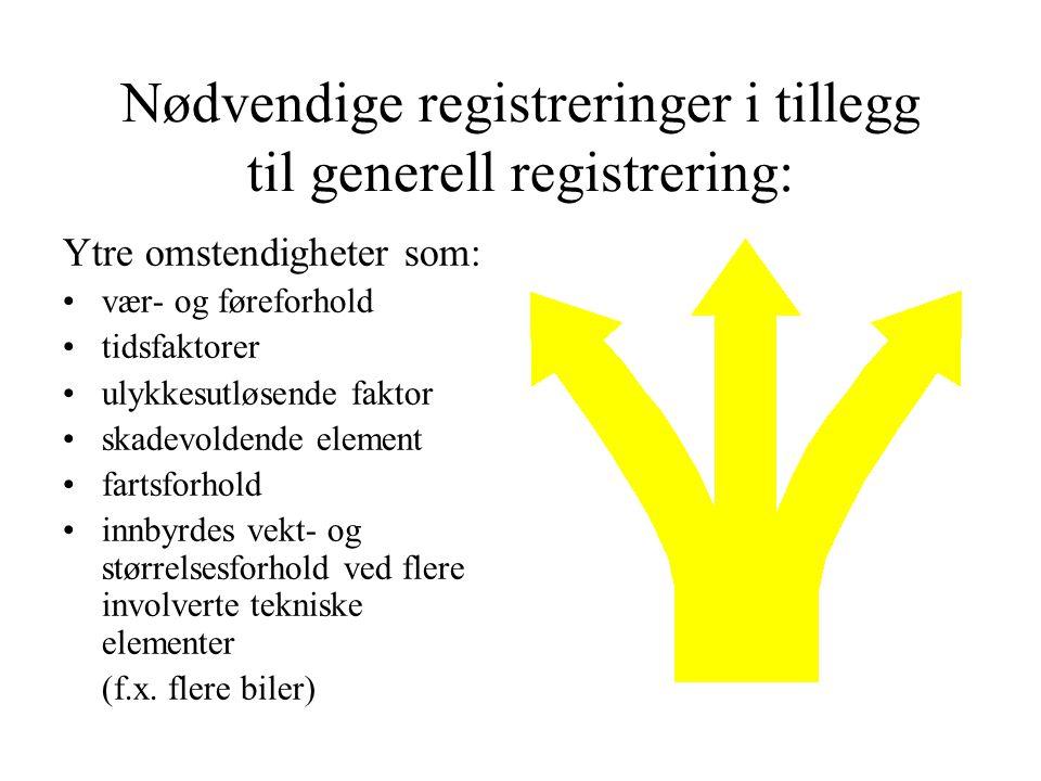 Nødvendige registreringer i tillegg til generell registrering: Ytre omstendigheter som: vær- og føreforhold tidsfaktorer ulykkesutløsende faktor skade