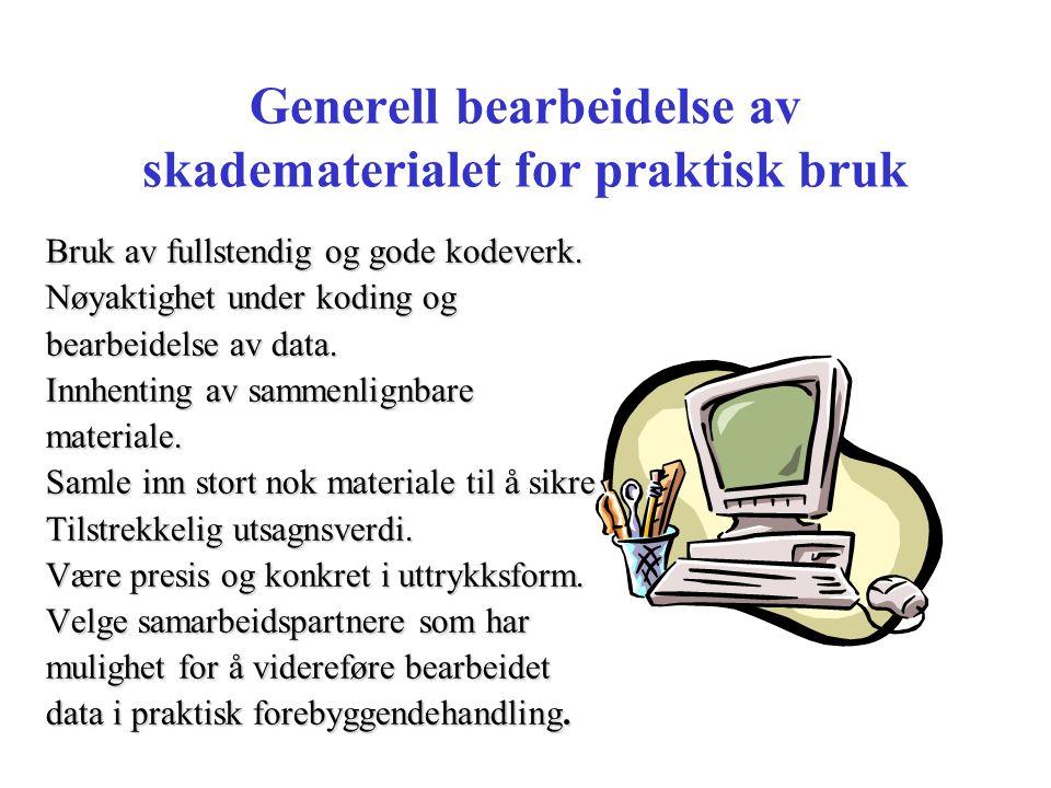 Generell bearbeidelse av skadematerialet for praktisk bruk Bruk av fullstendig og gode kodeverk. Nøyaktighet under koding og bearbeidelse av data. Inn
