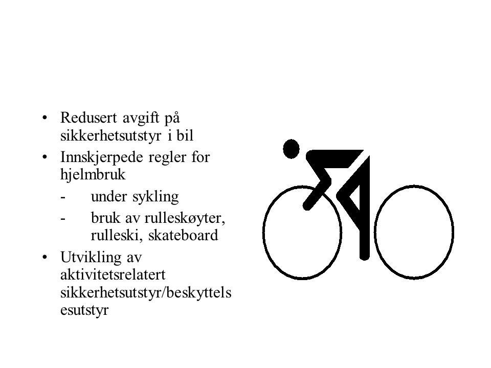 Redusert avgift på sikkerhetsutstyr i bil Innskjerpede regler for hjelmbruk -under sykling -bruk av rulleskøyter, rulleski, skateboard Utvikling av aktivitetsrelatert sikkerhetsutstyr/beskyttels esutstyr