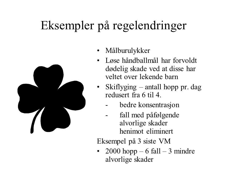 Eksempler på regelendringer Målburulykker Løse håndballmål har forvoldt dødelig skade ved at disse har veltet over lekende barn Skiflyging – antall hopp pr.
