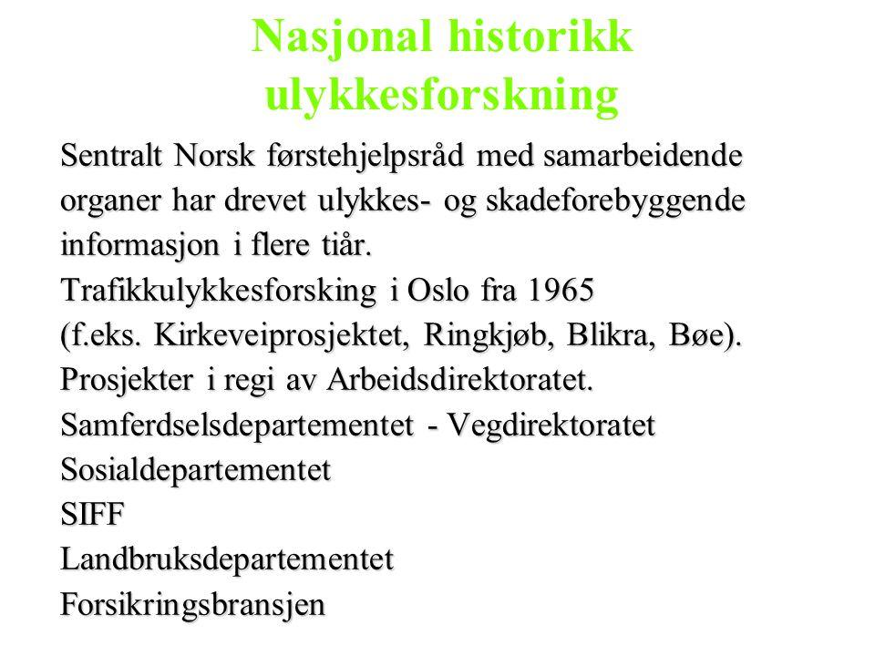 Nasjonal historikk ulykkesforskning Sentralt Norsk førstehjelpsråd med samarbeidende organer har drevet ulykkes- og skadeforebyggende informasjon i fl