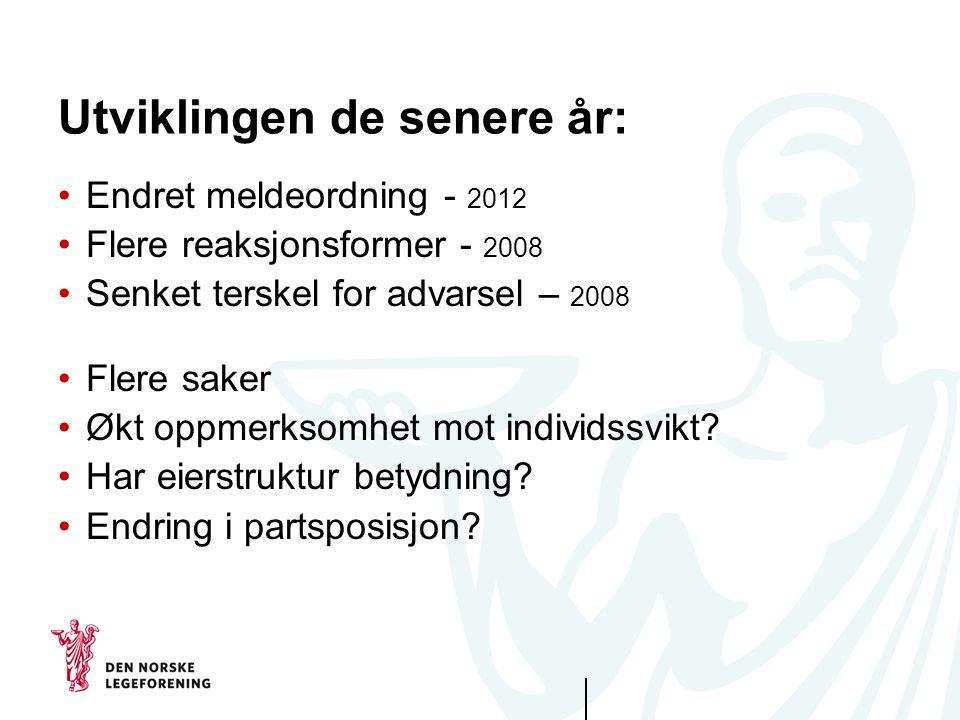 Utviklingen de senere år: Endret meldeordning - 2012 Flere reaksjonsformer - 2008 Senket terskel for advarsel – 2008 Flere saker Økt oppmerksomhet mot individssvikt.