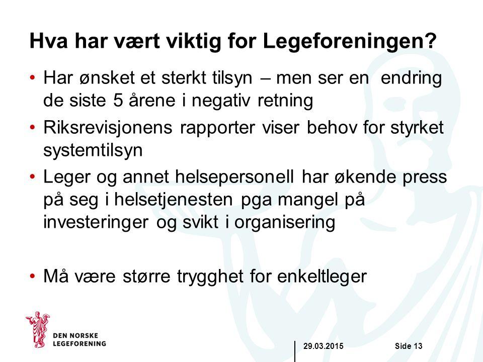 29.03.2015Side 13 Hva har vært viktig for Legeforeningen.
