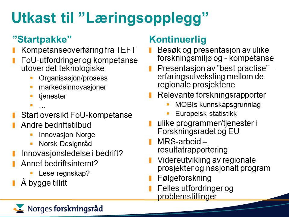 Utkast til Læringsopplegg Startpakke Kompetanseoverføring fra TEFT FoU-utfordringer og kompetanse utover det teknologiske  Organisasjon/prosess  markedsinnovasjoner  tjenester  … Start oversikt FoU-kompetanse Andre bedriftstilbud  Innovasjon Norge  Norsk Designråd Innovasjonsledelse i bedrift.