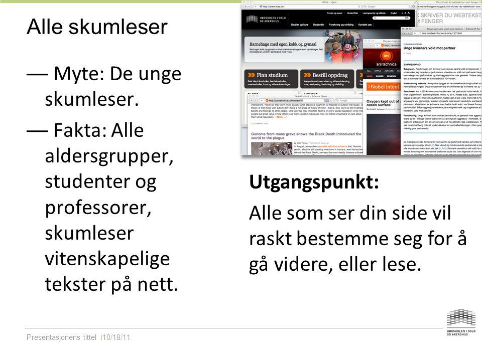 Presentasjonens tittel10/18/11 Alle skumleser — Myte: De unge skumleser.