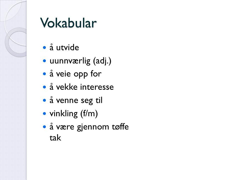 Vokabular å utvide uunnværlig (adj.) å veie opp for å vekke interesse å venne seg til vinkling (f/m) å være gjennom tøffe tak