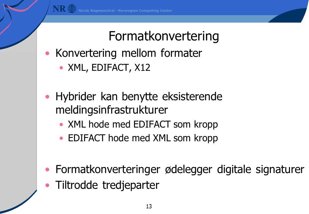 13 Formatkonvertering Konvertering mellom formater XML, EDIFACT, X12 Hybrider kan benytte eksisterende meldingsinfrastrukturer XML hode med EDIFACT som kropp EDIFACT hode med XML som kropp Formatkonverteringer ødelegger digitale signaturer Tiltrodde tredjeparter