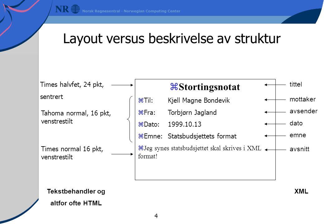 4  Stortingsnotat  Til:Kjell Magne Bondevik zFra:Torbjørn Jagland zDato:1999.10.13  Emne: Statsbudsjettets format  Jeg synes statsbudsjettet skal skrives i XML format.