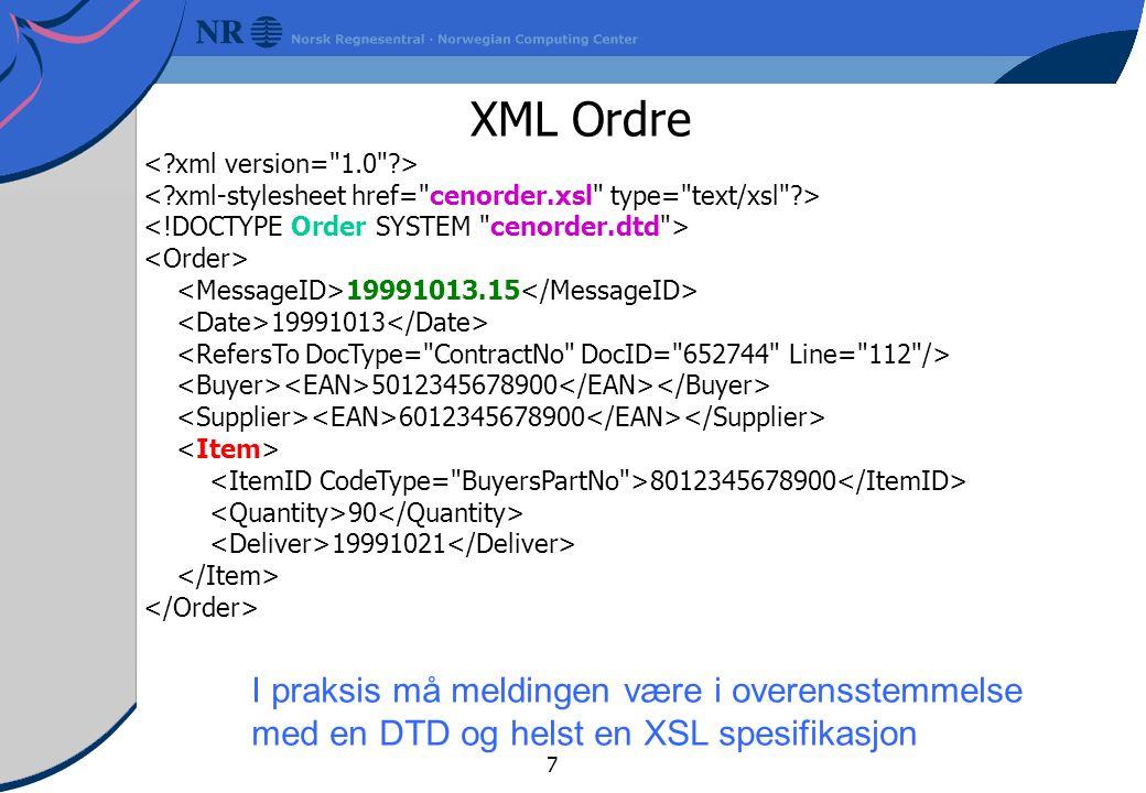 7 XML Ordre 19991013.15 19991013 5012345678900 6012345678900 8012345678900 90 19991021 I praksis må meldingen være i overensstemmelse med en DTD og helst en XSL spesifikasjon