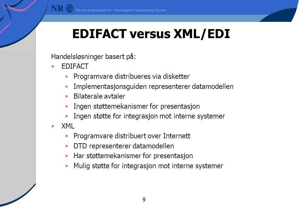 9 EDIFACT versus XML/EDI Handelsløsninger basert på: EDIFACT Programvare distribueres via disketter Implementasjonsguiden representerer datamodellen Bilaterale avtaler Ingen støttemekanismer for presentasjon Ingen støtte for integrasjon mot interne systemer XML Programvare distribuert over Internett DTD representerer datamodellen Har støttemekanismer for presentasjon Mulig støtte for integrasjon mot interne systemer