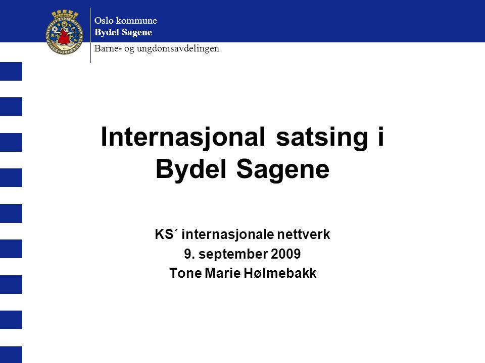 Oslo kommune Bydel Sagene Barne- og ungdomsavdelingen Internasjonal satsing i Bydel Sagene KS´ internasjonale nettverk 9. september 2009 Tone Marie Hø