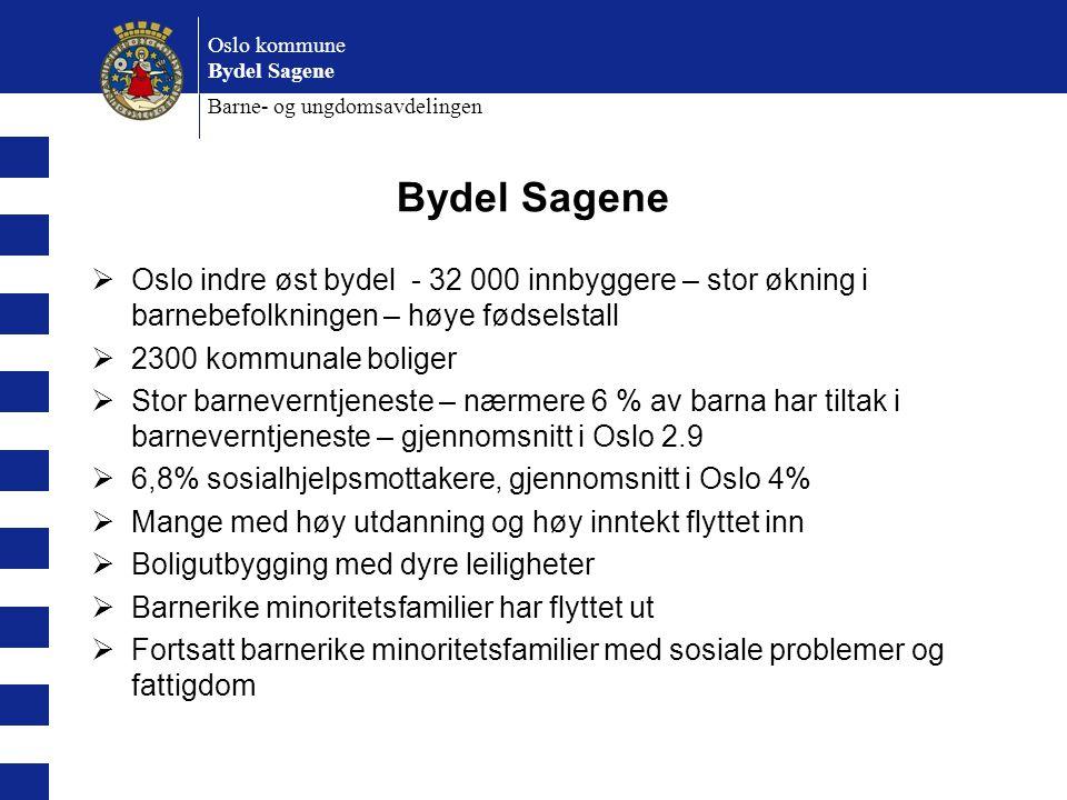 Oslo kommune Bydel Sagene Barne- og ungdomsavdelingen Bydel Sagene  Oslo indre øst bydel - 32 000 innbyggere – stor økning i barnebefolkningen – høye