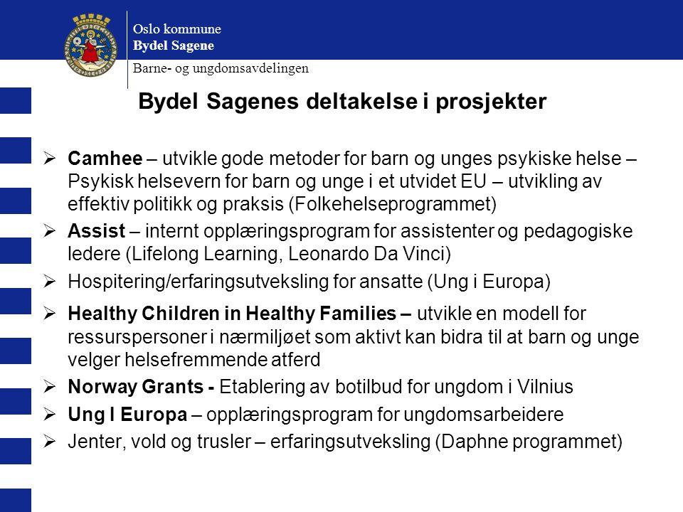Oslo kommune Bydel Sagene Barne- og ungdomsavdelingen Bydel Sagenes deltakelse i prosjekter  Camhee – utvikle gode metoder for barn og unges psykiske
