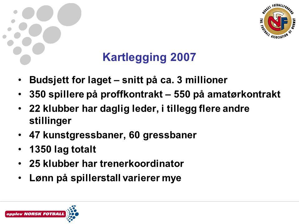 Kartlegging 2007 Budsjett for laget – snitt på ca.
