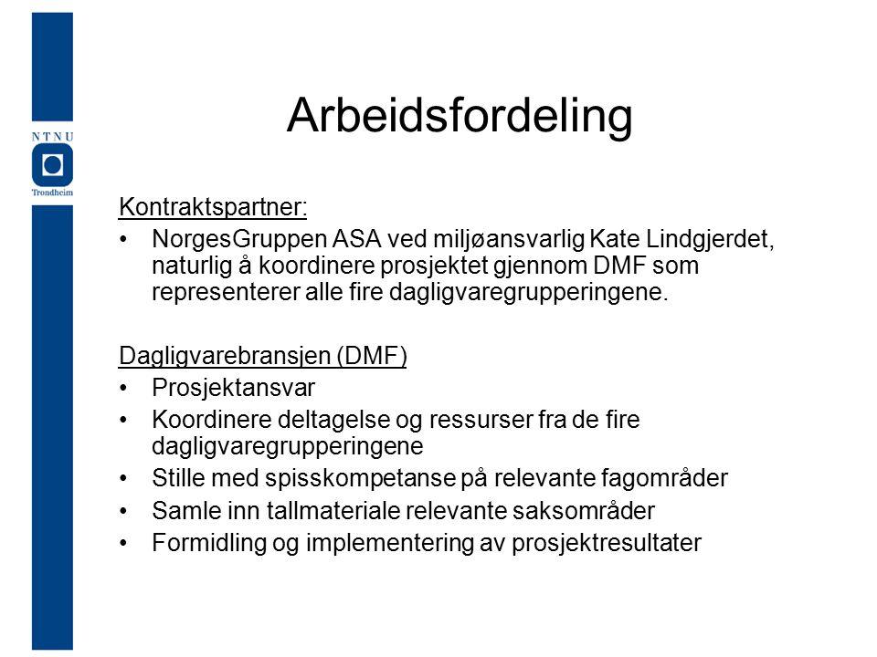 Arbeidsfordeling Kontraktspartner: NorgesGruppen ASA ved miljøansvarlig Kate Lindgjerdet, naturlig å koordinere prosjektet gjennom DMF som representerer alle fire dagligvaregrupperingene.